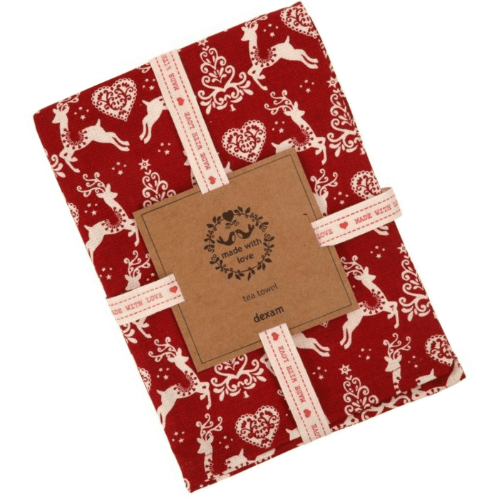 Dexam Yuletide Tea Towel Red