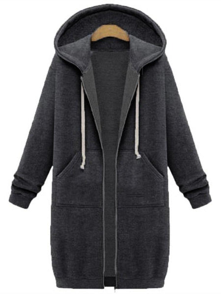 Plus Size Casual Long Sleeve H-line Hoodie  Coat