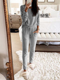 Casual Loose Long Sleeve Top Pants Knitted Suit