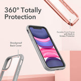 YOUMAKER Aegis Designed for iPhone 11 Case (2019), Full-Body with Built-in Screen Protector Rugged Clear Case for iphone 11 6.1 Inch - Purple