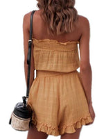 High Waist Pleated Tube Top Jumpsuit Shorts