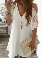 Lace/Solid 3/4 Sleeves/Cold Shoulder Sleeve Shift Above Knee Little Black/Casual/Elegant Dresses