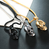 Punk Skull Pendant Necklace Halloween Vintage Hip Hop Statement Necklaces Men Jewelry