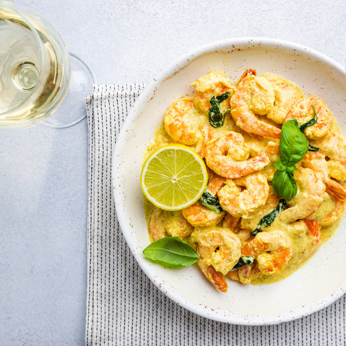 A Food & Wine Marriage - Coconut Curried Prawns with Basil - Paired With Chardonnay