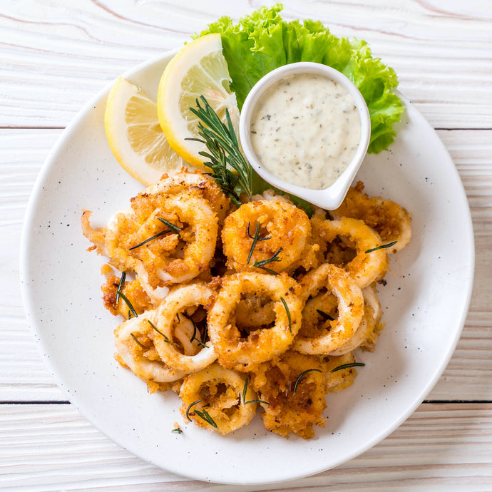 Greek Calamares with Tzatziki . Brad's Wine Pairing for JOY Sauvignon Blanc Blend 2019