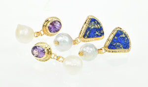 Rough Lapis and Amethyst pearl 14k earrings