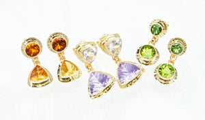 Millennium cut gemstone 14k earrings