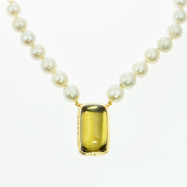 98 ct. Lemon Citrine Cabochon and 15mm Freshwater Pearl Necklace