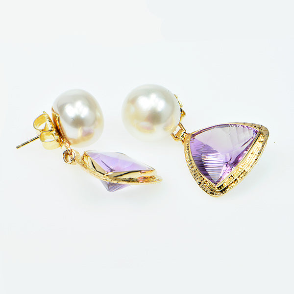 Amethyst Millennium Faceted and Pearl Earrings