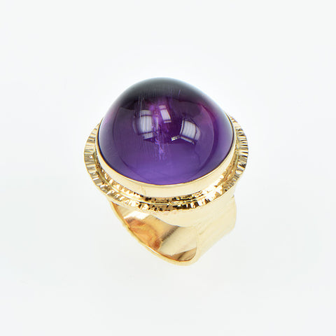 Amethyst High Dome Cabochon Ring