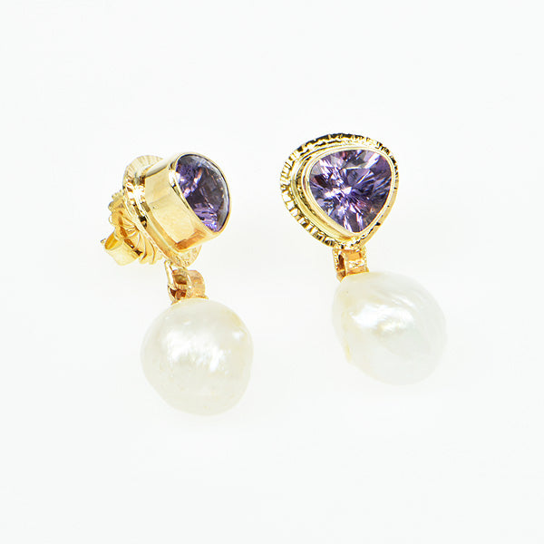 Lavender Amethyst Faceted and Free-Form Pearl Earrings
