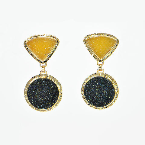 Apricot and Black Drusy Quartz Cabochon Earrings