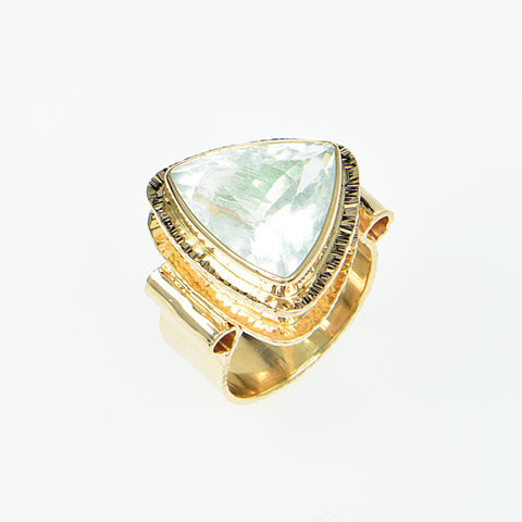 Aquamarine Trillion Faceted Ring