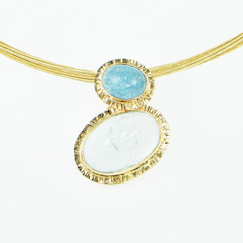 Aquamarine and White Topaz Cabochon Pendant