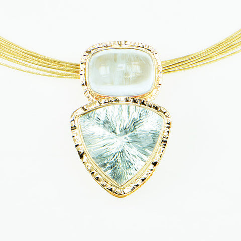 Ice Aquamarine Trillion Millennium Faceted and Cushion Cabochon Pendant