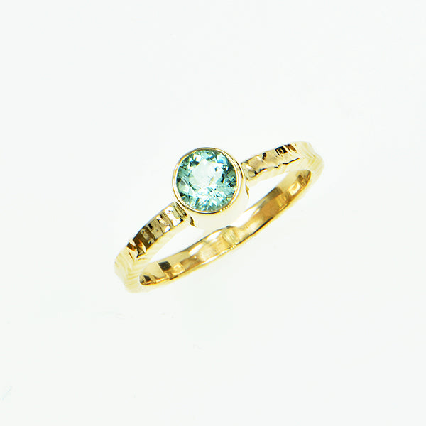 Sea Foam Aquamarine Faceted Ring