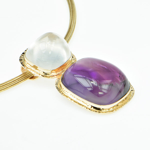 Bi-Color Amethyst and White Topaz Cabochon Pendant