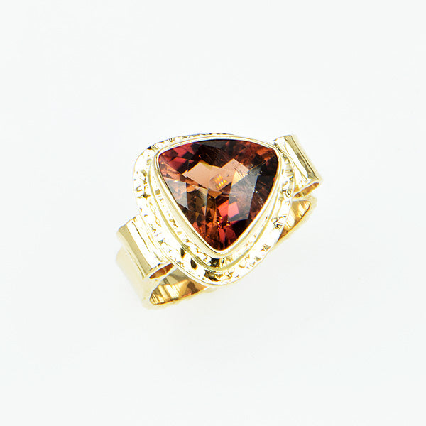 Bi-Color Tourmaline Trillion Faceted Ring