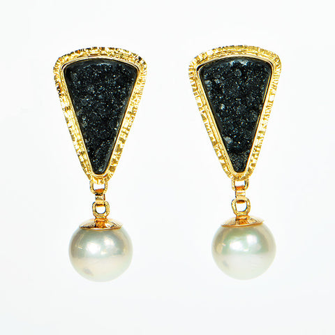 Black Drusy Quartz and Pearl Cabochon Earrings