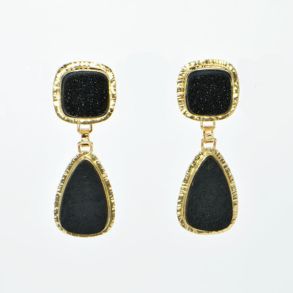 Black Jade and Black Drusy Quartz Cabochon Earrings