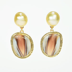 Botswana Cabochon and Pearl Earrings