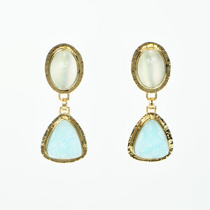 Catseye Moonstone and Hemimorphite Cabochon Earrings