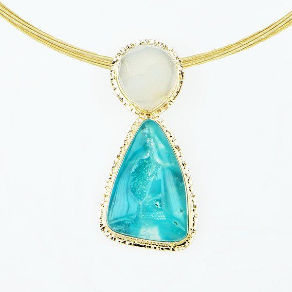 Drusy Chrysocolla and White Drusy Quartz Cabochon Pendant