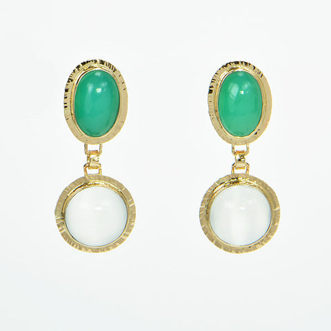 Chrysoprase and Catseye Moonstone Cabochon Earrings