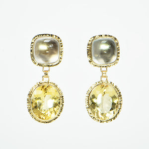 Citrine Faceted and White Topaz cabochon Earrings
