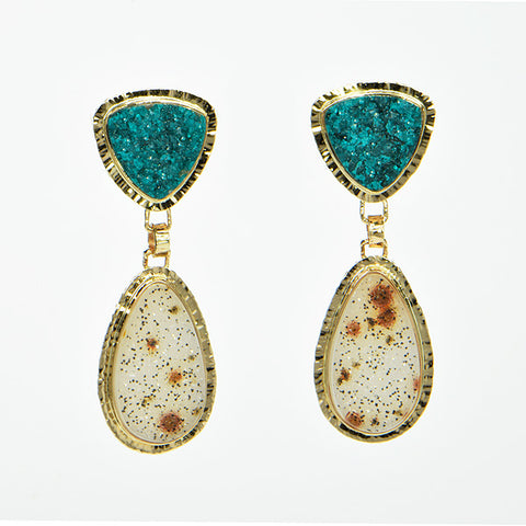 Drusy Dioptase and White Speckled Drusy Quartz Cabochon Earrings