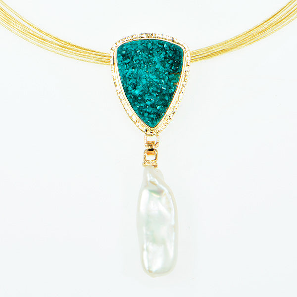 Drusy Dioptase Cabochon and Free-Form Pearl Pendant