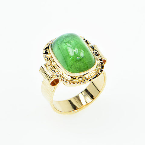 Afghan Green Tourmaline Cabochon Ring