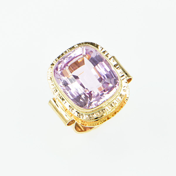 Kunzite Faceted Ring