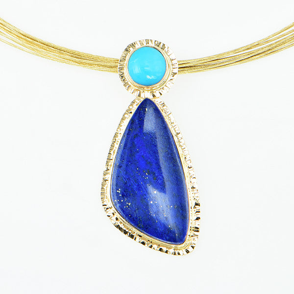 Lapis and Sleeping Beauty Turquoise Cabochon Pendant