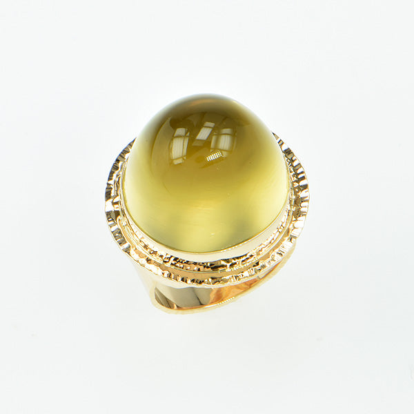 Lemon Citrine High Dome Cabochon Ring