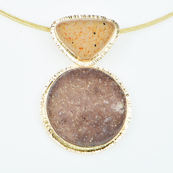 Peach and Mauve Drusy Quartz Cabochon Pendant