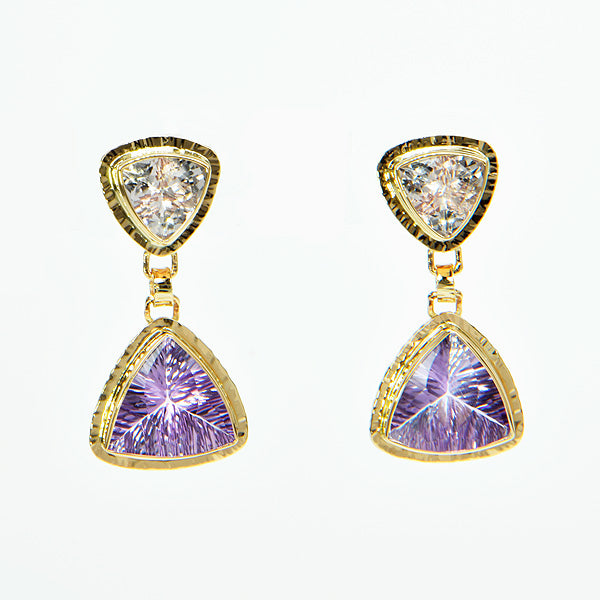 Morganite and Amethyst Trillion Faceted Earrings
