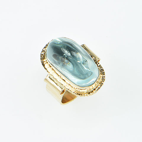 Natural Color Blue Topaz High Dome Cabochon Ring