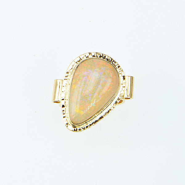 Red Crystal Opal Cabochon Ring
