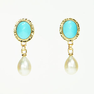 Persian Turquoise Cabochon and Drop Pearl Earrings