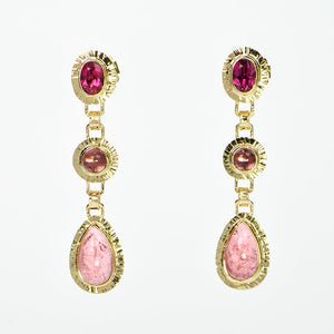 Pink Tourmaline Faceted and Cabochon Earrings