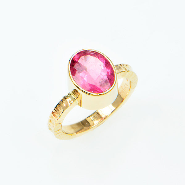 Pink Tourmaline Faceted Ring