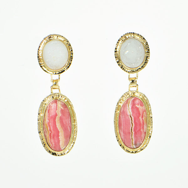 Rhodochrosite and White Drusy Quartz Cabochon Earrings