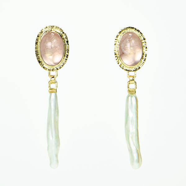 Rose Quartz Cabochon and Freshwater Stick Pearl Earrings