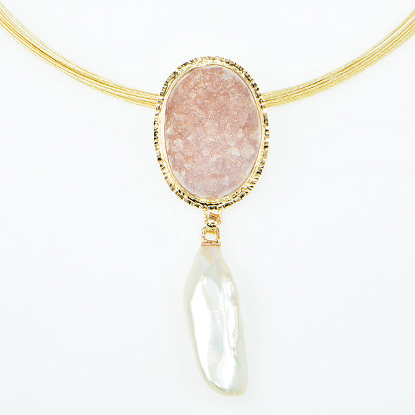 Rose Drusy Quartz Cabochon and Free-Form Pearl Pendant