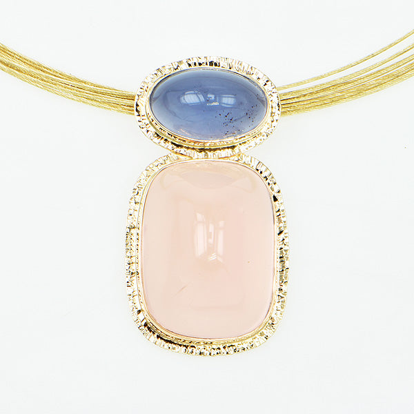 Rose Quartz and Blue Chalcedony Cabochon Pendant