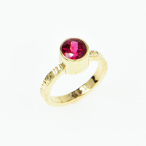 Rubellite Tourmaline Faceted Ring