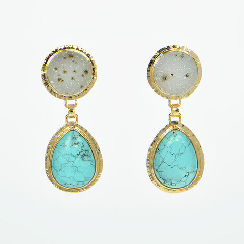 Turquoise and White Speckled Drusy Quartz Cabochon Earrings