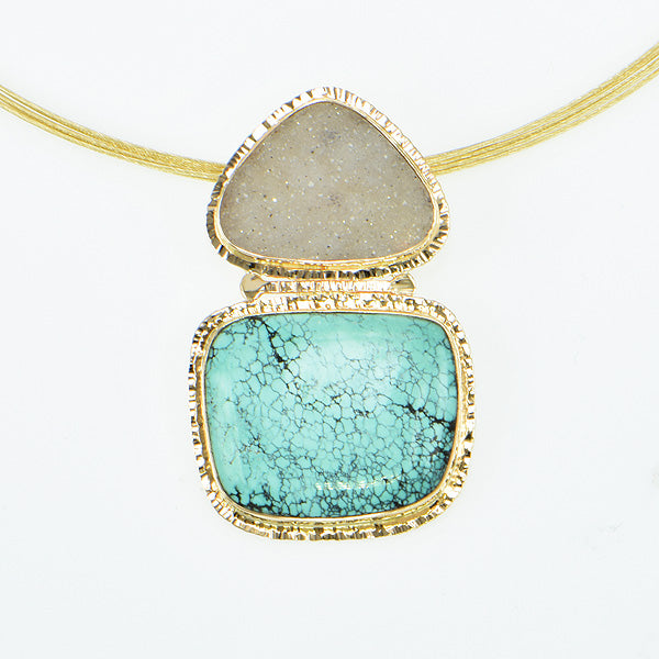 Turquoise and Grey Drusy Quartz Cabochon Pendant