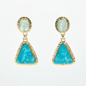 Kingman Turquoise and Aquamarine Cabochon Earrings